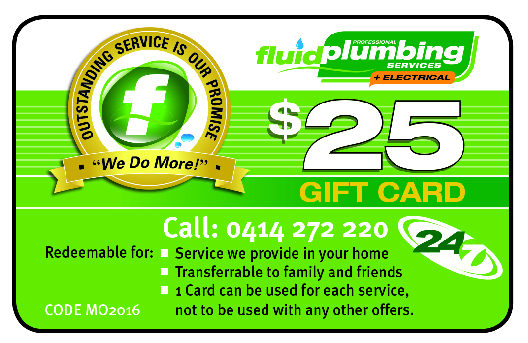 Fluid Plumbing Central Coast $25 gift card