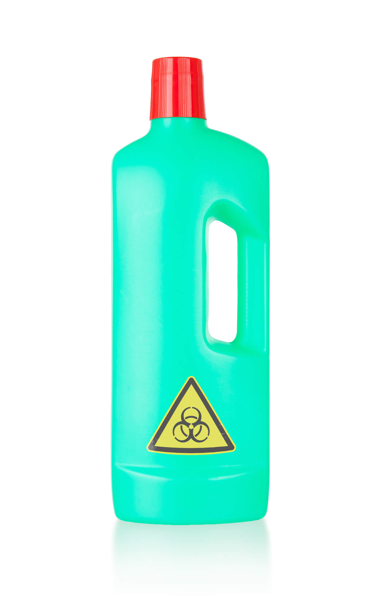bottle of caustic cleaner with danger symbol